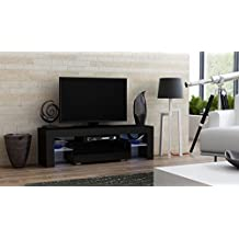 "TV Stand MILANO 130 / Modern LED TV Cabinet / Living Room Furniture / Tv Console fit for up to 55"" flat TV screens / Capacity Tv Console for Modern Living Room (Black & Black)"