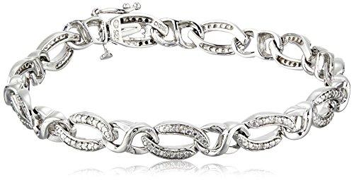 Sterling Silver Diamond Link Bracelet (1/10 cttw, I-J Color, I2-I3 Clarity), 7.25