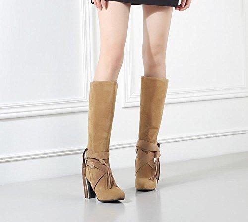 Stiefel Damen heels Shoes Mee Gelb chunky Nubukleder langschaft TwUqxq
