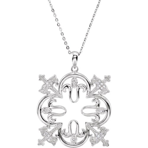 Rhodium Plate Sterling Silver 'Triumphant' Quatrefoil Cross CZ Necklace, 18'' by The Men's Jewelry Store