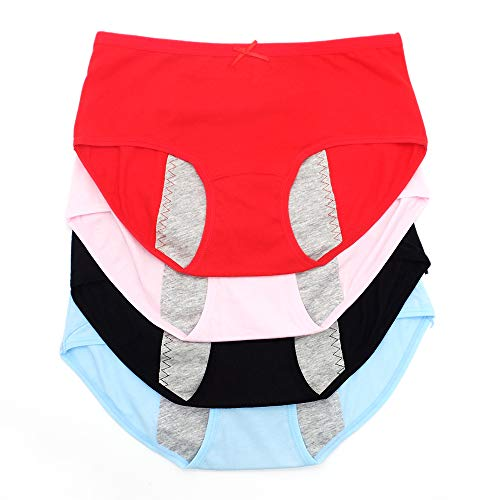 CPOP Period Sanitary Underwear for Girls Women, Cotton Leakproof Menstrual MaternityBriefs Panties 4pack (B, L)