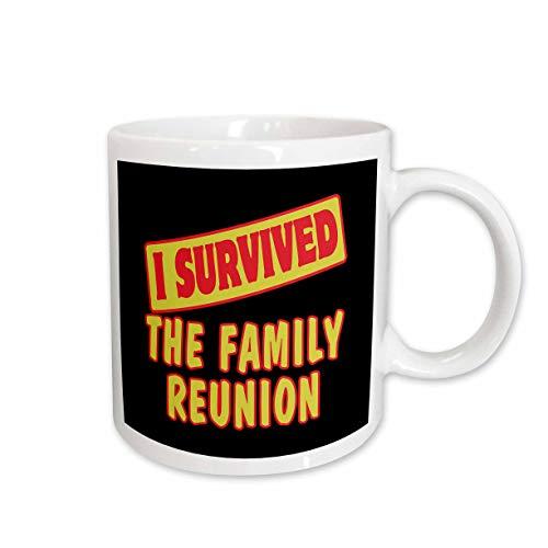 3dRose Dooni Designs Survive Sayings - I Survived The Family Reunion Survial Pride And Humor Design - 15oz Two-Tone Black Mug (mug_118334_9) ()
