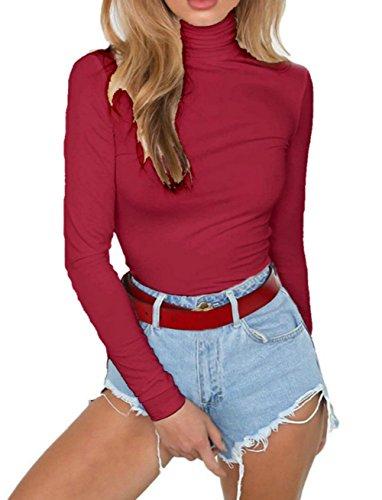 - PALINDA Women's Turtleneck Long Sleeve Bodysuit Sexy Bodycon Stretchy Leotards (S, Wine Red)