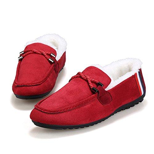 O & N Mens Chaussure De Conduite Occasionnelle Glisser Sur Des Chaussures De Neige Intérieur Mocassins En Plein Air Rouge
