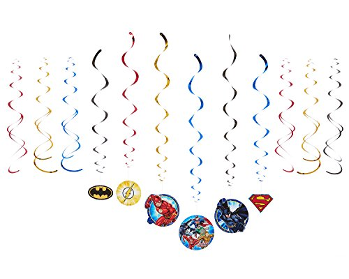 American Greetings Justice League Hanging Swirl Decorations, 12-Count