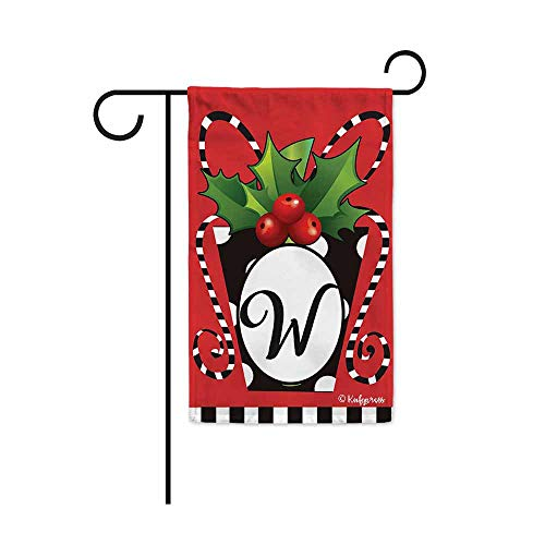 KafePross Merry Christmas Gifts Monogram W Decorative Garden Flag Welcome Winter Holly Letter Initial Decor Banner for Outside 12.5