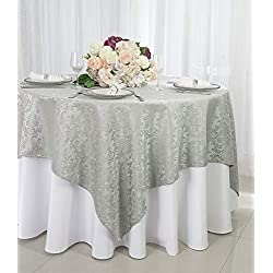 "Wedding Linens Inc. 72"" Square Damask Jacquard Polyester Table Overlays Toppers Tablecloths Table Cover Overlay Linens for Restaurant Kitchen Wedding Party Banquet Events - Silver/Gray"