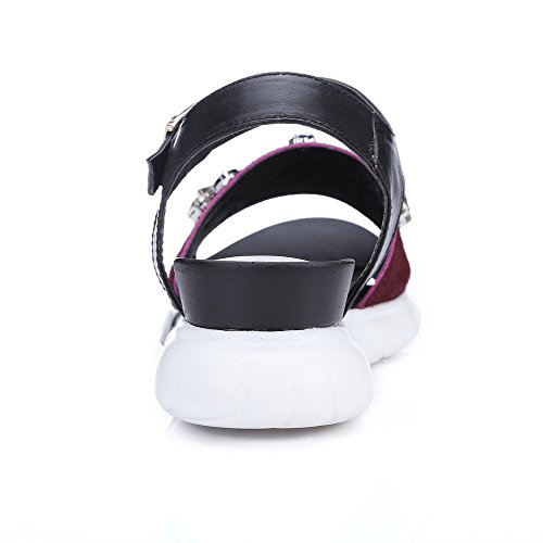 AmoonyFashion Womens Blend Materials Kitten-Heels Open-Toe Solid Buckle Sandals Claret 3kOEMiMvq