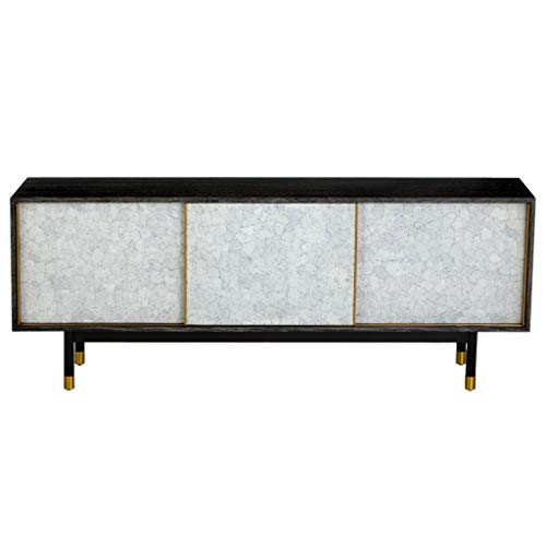 Global Views Luxe Eggshell Sliding Door Media Cabinet | Black Brass Modern Minimalist Gray