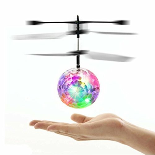 Mini RC Flying Magic Fun Illuminated Ball - RC Infrared Induction USB Helicopter Ball with Built-in Shinning LED Lighting for Kids, Teenagers. FREE SPINNER