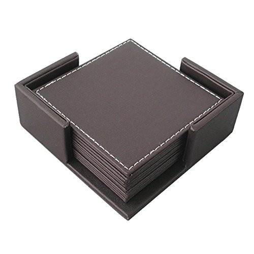 Chris-Wang Durable Home & Office Business Square PU Faux Leather Cup Mats Coasters for Tea & Coffee & Drink Cup, Set of 6 With Holder (Brown)