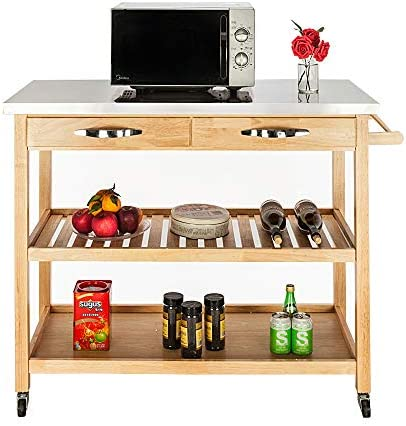 Henf 3 Tier Kitchen Trolley Cart,Portable Storage,Pushing Kitchen Island Cart Wheels Rolling Table Serving Carts Bar