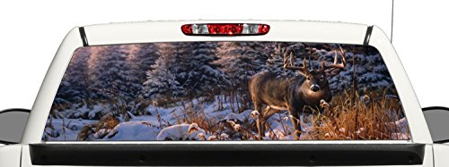 Deer Hunting Snow Rear Window Graphic Decal Perforated Vinyl Wrap (Rear Window Hunting Decal)