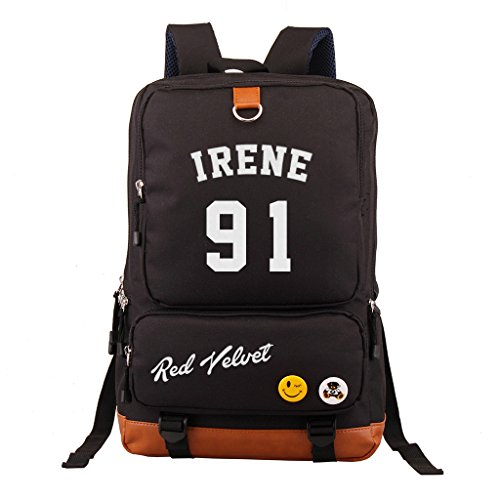 Fanstown Kpop RED Velvet Black Backpack Pencil case Set Canvas Messenger Bag School Bag (Irene) ()