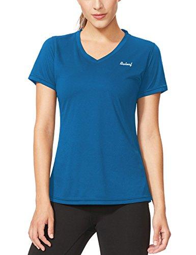 Baleaf Women's Workout V-Neck T-Shirt Short Sleeve Moisture Wicking Running Tops Sea Blue Size XL