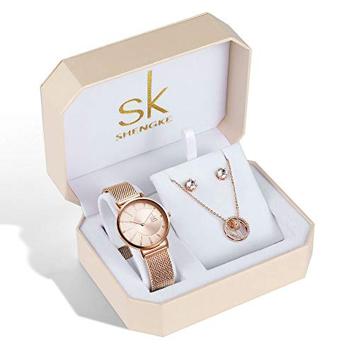 SK Women Earring Watches Luxury Rose Gold and Gold Jewelry Set Female Watch Set Christmas Gifts (93-RG-RG-SET-XL004)