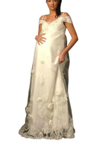 Albizia Women's Charming A-line Beaded Floor-length Pregnant Wedding Dress by ALBIZIA