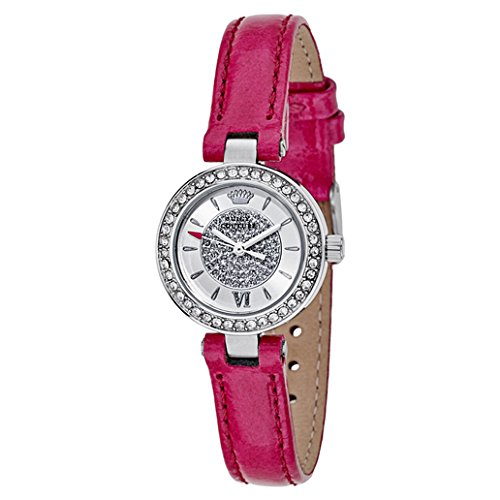 Juicy Couture Women's 1901247 Luxe Couture Crystal-Accented Stainless Steel Watch with Pink Patent Leather Band