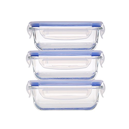 Dish Microwave Safe Storage Lid (Mini Glass Baby Food Containers 6.1oz, 0.76 Cup – 3pc Glass Lunch Box with BPA Free Lid, Rectangular Food Storage Containers Microwave, Freezer, Oven & Dishwasher Safe)