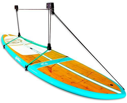StoreYourBoard SUP and Surfboard Ceiling Storage Hoist, Hi Lift Home and Garage Hanging Pulley Rack, Pro (Board System Kayak)