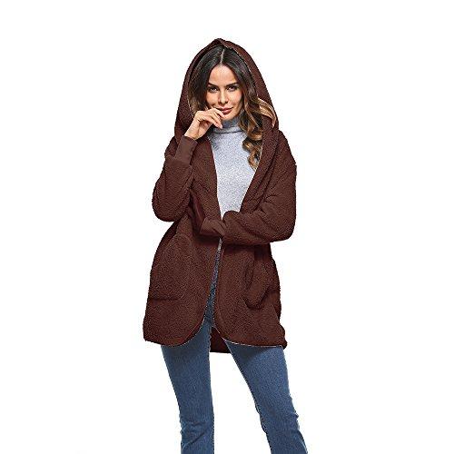Artificiel Hiver Shujin Cardigan Gilet Casual Automne Femme Caf Fashion Manteau Veste Fourrure pour EwHWBqA