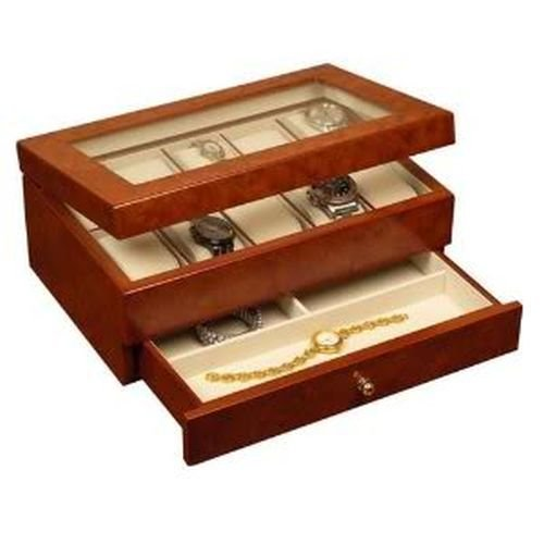 (Mele & Co. Peyton Watch Box in Burlwood Oak)