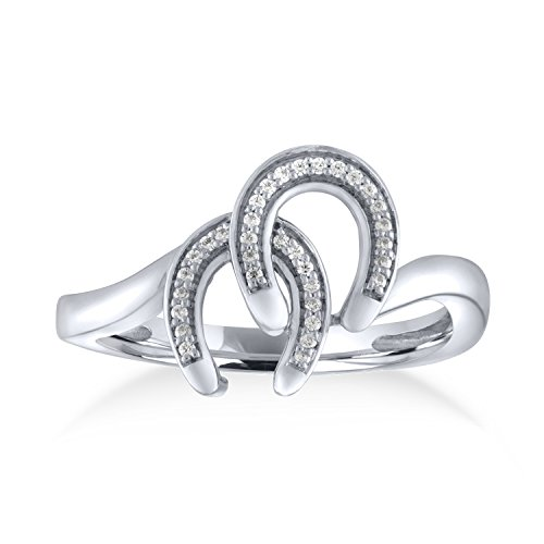 Ring Horseshoe Diamond Ladies (1/10ct Diamond Horseshoe Ring in Sterling Silver)