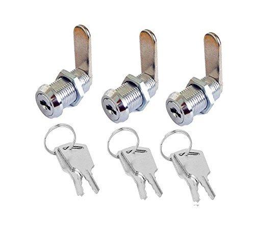 antrader 1,5x 2,3cm metal buzón de seguridad Cam Lock para Arcade Alacena Muebles Cajón 3Sets, con teclas