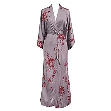 Old Shanghai Women's Kimono Robe Long - Watercolor Floral, Cherry Blossom & Crane- Dusk