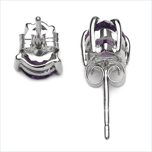 Bijoux Schmidt-Boucles d'oreilles améthyste trillions de Silver-rhodium-0, 50 carats