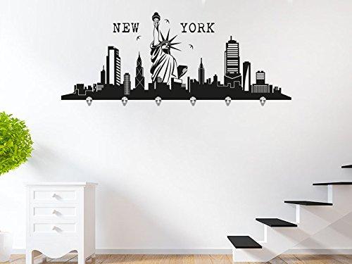 KLEBEHELD® Wandtattoo Garderobe Skyline New York mit 6 Edelstahl Wandhaken B013WPRYGW Wandtattoos & Wandbilder
