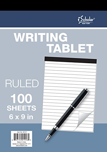 iScholar Writing Tablet, Ruled White, 100 Sheets, 6 x 9-Inch