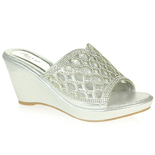 AARZ LONDON Womens Ladies Crystal Diamante Evening Wedding Party Prom Bridal Slip-On Wedge Heel Sandal Shoes Size Silver eAbJz