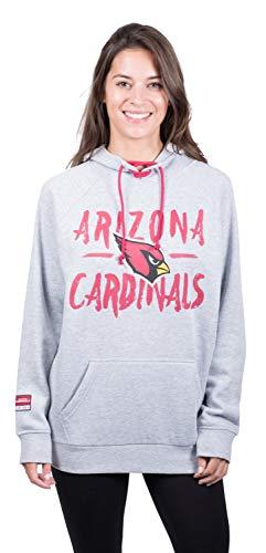 NFL Arizona Cardinals Women's Fleece Hoodie Pullover Sweatshirt Tie Neck, Large, Heather Gray