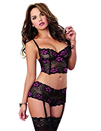 Dreamgirl Women's Sexy and Flirty Floral Cross-Dye Lace Bustier and Panty