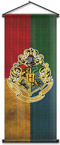 Nordic Souvenirs Harry Potter Style Banner - Hogwarts Flag 43in x 16in Wall Scroll - Ready to Hang - Perfect Barware Man Cave Gift - Unique HP Collectible Accessories ()