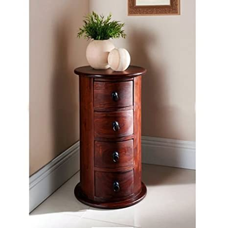 RjKart Rich Walnut Solid Wooden Dressers And Chests of Drawers For Bedroom Round Shape - 4 Drawers and Storage