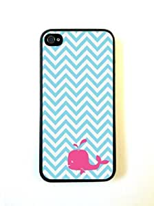 Turquoise Chevron Zig Zag Pink Whale iphone 4 Cover Iphone 4s Case Fits iphon...