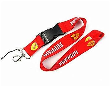 okokk90909o Auto cordón Car Logo Lanyard Llavero Llavero Tarjeta de identificación móvil Correa Colgante Llavero de Regalo(Ferrari Red)