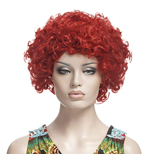 YOPO Short Curly Wig for Women with Wig Cap and Bobby Pins, Red ()