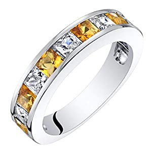 Sterling Silver Princess Cut Genuine, Created or Simulated Gemstone Half Eternity Wedding Ring Band Sizes 5 to 9