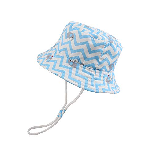 JANGANNSA Baby Boys Dinosaur Hat Cotton Print Summer Cap Boys Wide Brim with Chin Strap (Blue Elephant, S)