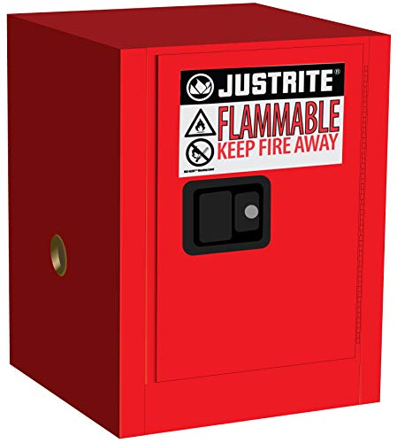Justrite 890401 Sure-Grip Flammables Cabinet, Manual-Close, 4 Gal, Red