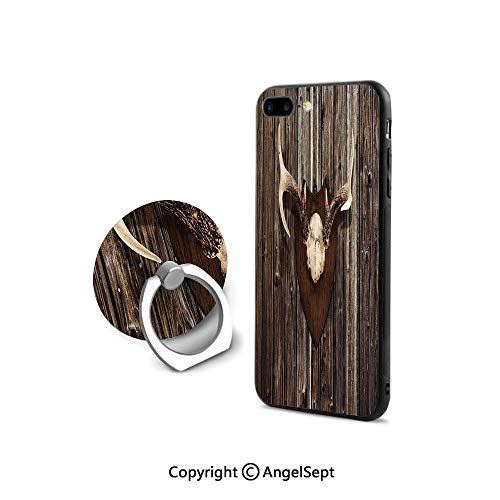 Protective Case Compatible iPhone 7/8 with 360°Degree Swivel Ring,Rustic Home Cottage Cabin Wall with Antlers Hunting Lodge Country House Trophy Decorative,for Girls,Brown