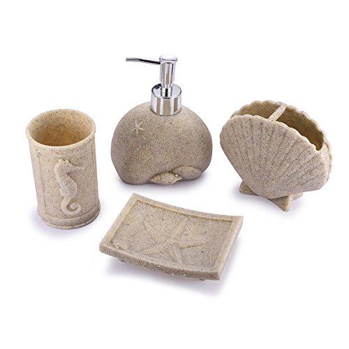 Resin Bath Accessories - TTOYOUU 4pcs Bath Accessory Set, Stone Textured Shell Design Resin Soap Dish, Soap Dispenser,Toothbrush Holder & Tumbler Bath Ensemble Bathroom Accessory Collection Set