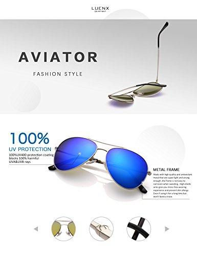 c5f0bc88cb LUENX Aviator Sunglasses Men Women Mirror Polarized UV400 Metal Frame 60MM  (6-Dark Blue