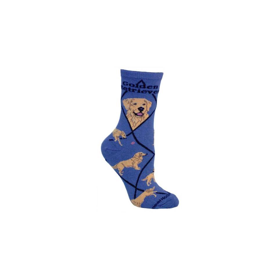 Golden Retriever Dog Blue Cotton Ladies Socks