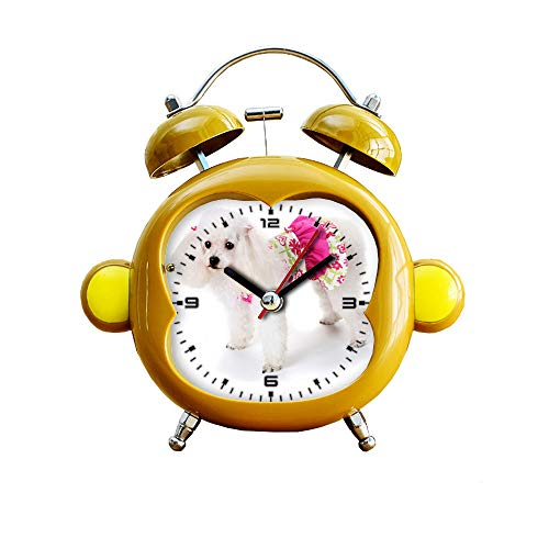(GIRLSIGHT1 Children's Room Monkey Style Silent Alarm Clock Twin Bell Mute Alarm Clock Quartz Analog Bedside and Desk Clock with Nightlight- 404.Vestido Primavera pet)