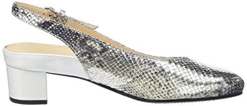 Hassia Verona, Weite H - Sandalias de tobillo Mujer Plateado - Silber (7604 silber/offwhite)