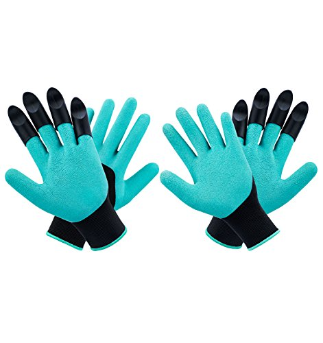 MOFIR Garden Genie Gloves 2 Pack With 4 ABS Claws | Breathable, Waterproof Nitrile & Thorn Resistant Working Gloves For Women & Men | For Digging, Planting, Composting, Outdoor Work - Waterproof Gloves Gardening